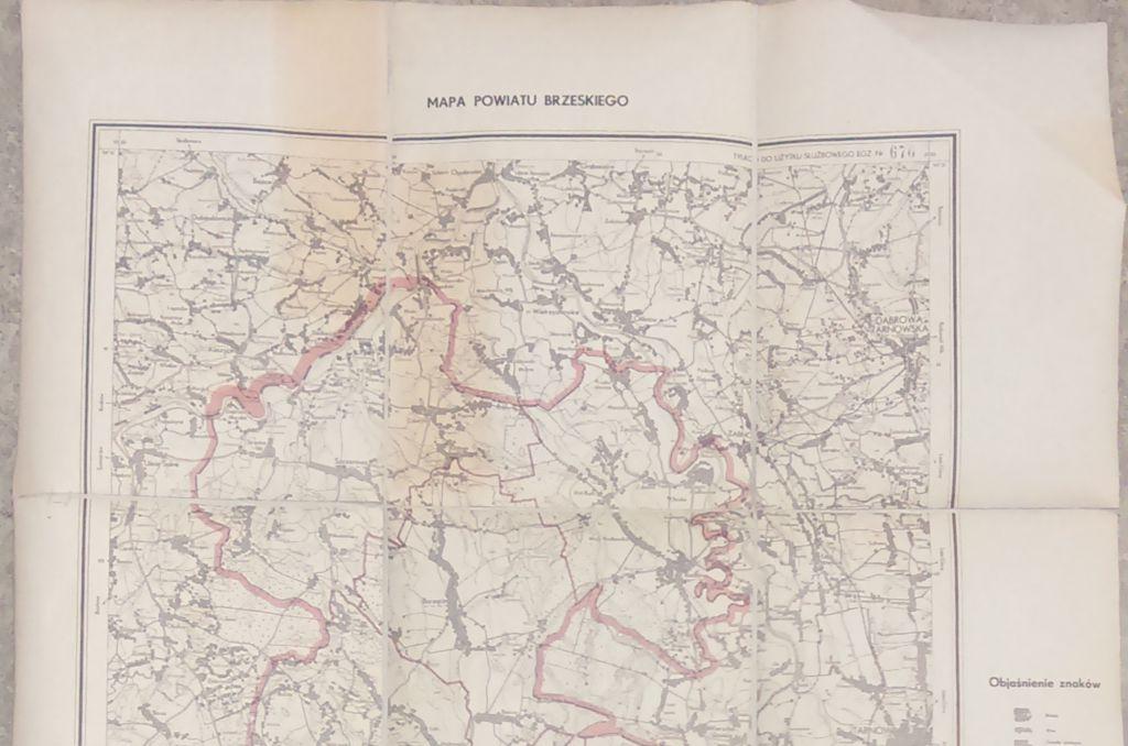 Mapa powiatu brzeskiego z 1954 r.